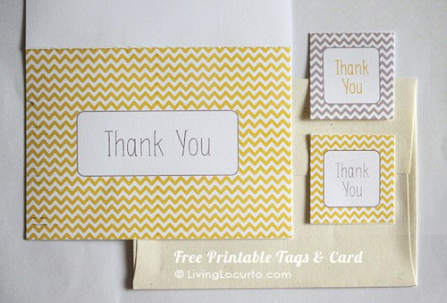 Free Printable Thank You Card & Gift Tags | Living Locurto | Yellow gray White Chevron Pattern
