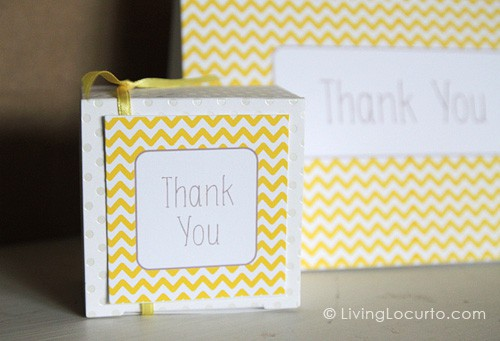 Free Printable Thank You Card & Gift Tags | Living Locurto | Yellow & White Chevron Pattern