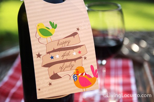 Free Party Printable Wine Tag for July 4th - Living Locurto