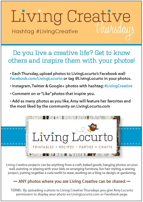 Living Creative Thursdays with LivingLocurto.com - Photo Sharing - Craft Projects