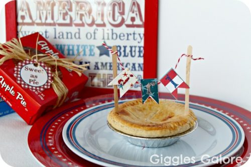 Mini Pie 4th of july Banner - Easy Party Craft Idea by Giggles Galore. #LivingCreative Thursday