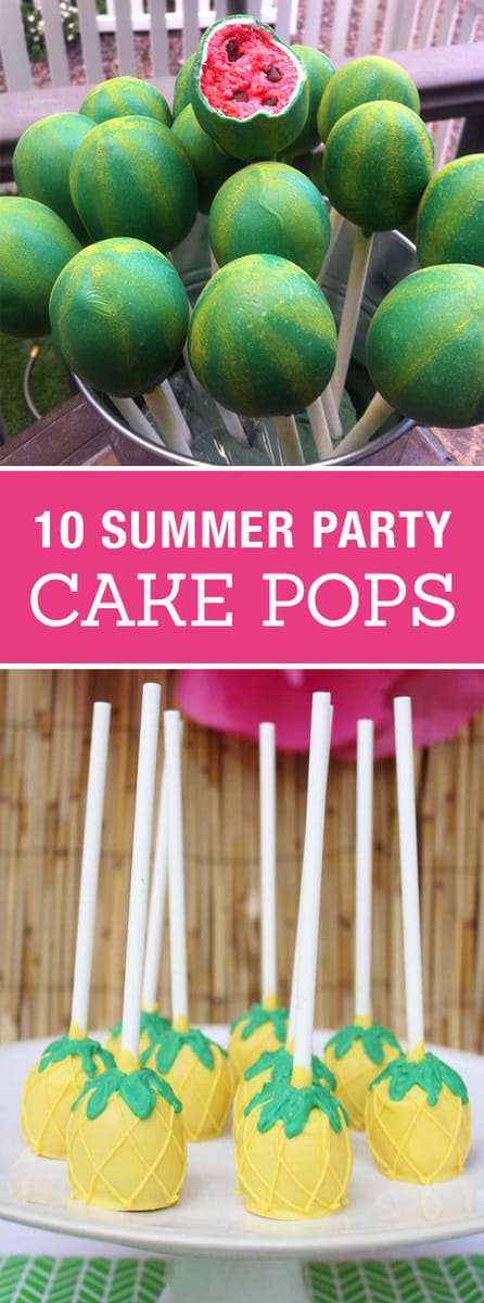10 Creative Cake Pops for a Summer Party! Cute birthday or pool party desserts. From beach balls and sharks to lady bugs and crabs. 10 cute fun food ideas for cake pops!