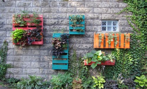 garden pallet hanging flower wall