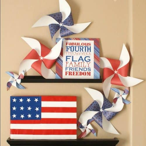 4th of July Paper Patriotic Mantel decor by A Night Owl Blog. #LivingCreative Thursday