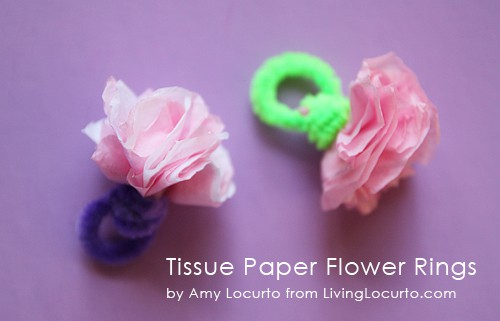Easy Tissue Paper Flower Rings Kids Craft