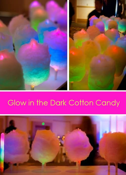 Glow in the Dark Cotton Candy. Cool LED Glow Sticks! A fun food idea for kids birthday parties, weddings or any night time celebration!