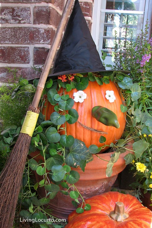 Halloween Witch Pumpkin - Easy Craft Idea by Amy Locurto at LivingLocurto.com