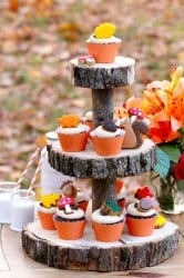Fall cupcakes and wood cake stand by Sweetopia.