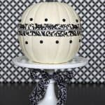 Easy Halloween Craft Pumpkin | Black and White Damask Ribbon | Living Locurto
