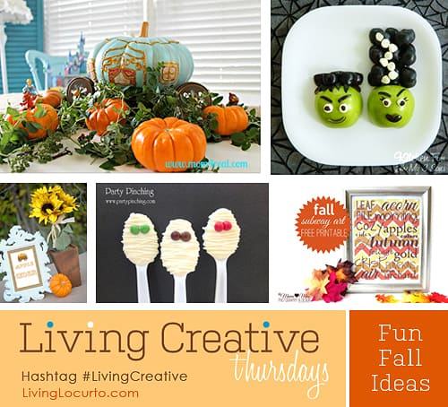 Fun Fall and Halloween Craft and Printable Ideas Featured on #LivingCreative Thursday at LivingLocurto.com