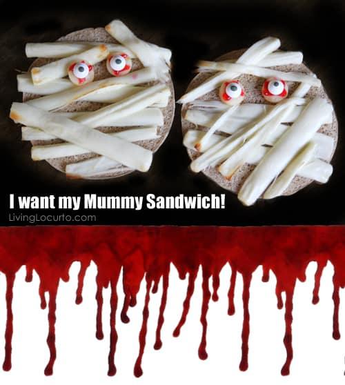 Halloween Fun Food Idea -  Mummy Sandwich - Living Locurto