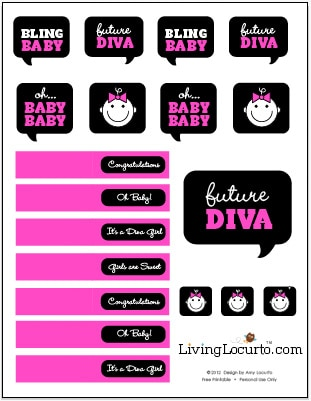 Baby Shower Free Party Printables   Baby Diva   Amy Locurto   Living Locurto