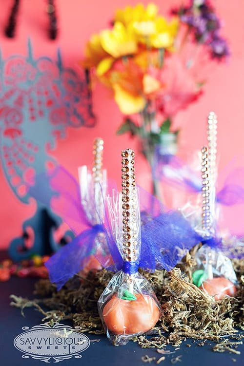 Fun Food Idea - Pumpkin Cake Pops with Bling Sticks