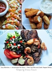 3 Easy Dinner Recipes - Taco Wontons, Homemade Fish Sticks, New York Strip with Garlic Pepper Shrimp | Living Locurto