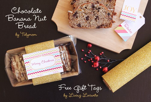 DIY Christmas Gift Idea - Chocolate Banana Nut Bread and Free Printable Tags. LivingLocurto.com