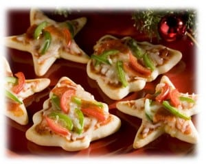 Mini Christmas Pizzas - Christmas Appetizer - Holiday Party Fun Food Ideas