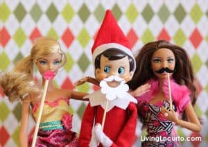 Elf on the Shelf Photo Booth with Barbie | Free Party Printable Mini Props by Living Locurto