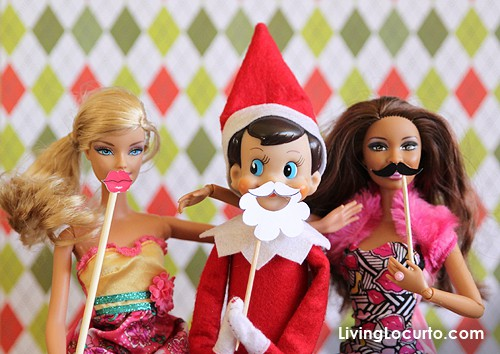 Elf on the Shelf Photo Booth with Barbie |  Printable Mini Props by LivingLocurto.com