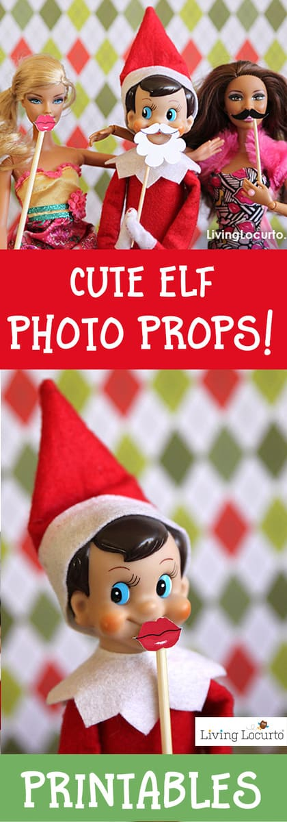 A fun Elf Photo Booth idea! Printable Elf photo props include a Mini Santa Beard, Lips and Mustache. Grab your Elf on the Shelf, Barbie and camera for a party!