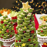 Christmas Tree Tortilla Wraps - Fun Food Party Recipe Ideas - Appetizers