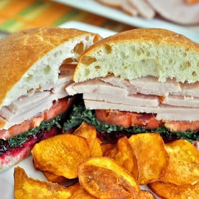 Roasted Turkey Sandwich with Kale and Cranberry Chipotle Lime Sauce