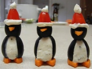 Penguin Appetizers - - 25 Amazing Christmas Party Appetizer Recipes! Fun Food Ideas and more for a Holiday Party. LivingLocurto.com