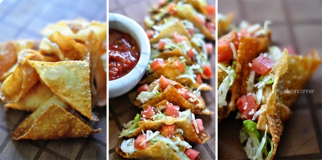 Taco Wontons Recipe | Divian Conners via Living Locurto