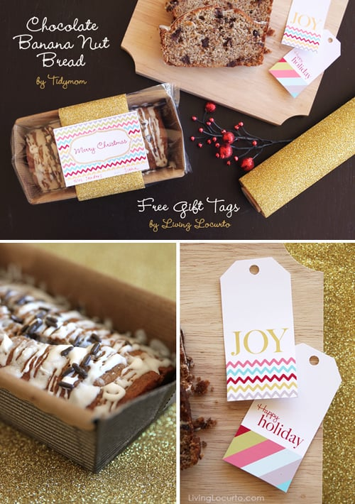 Chocolate Banana Nut Bread Recipe & Free Printable Tags. LivingLocurto.com