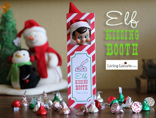 Cute Elf Kissing Booth! Printable by Amy Locurto. LivingLocurto.com