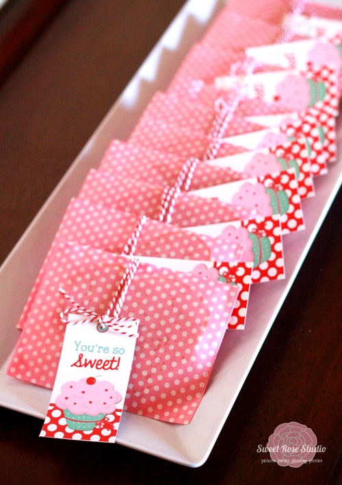 Cupcake Party Ideas | Cute Pink Polka Dot Party Favor Bags | Party with Amy Locurto | Living Locurto