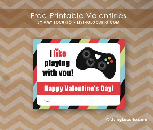 Free Printable xBox Video Game Valentine by Amy Locurto at LivingLocurto.com