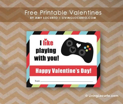 Valentines Day Free Printable xBox Video Game Valentine by Amy Locurto at LivingLocurto.com