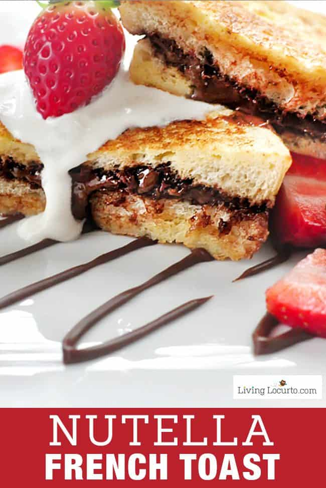 Nutella French Toast recipe with creamy whipped topping! Pair it with strawberries for a quick and easy breakfast or snack! #nutella #breakfast