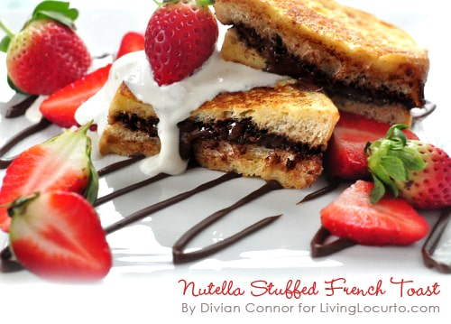 Easy Nutella French Toast recipe with creamy whipped topping! Nutella French Toast - Easy chocolate hazelnut and strawberry breakfast recipe.