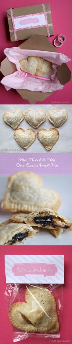 "Chocolate Chip Oreo Cookie Mini Heart Pie Recipe with Free Printable ""You're as Sweet as Pie"" tags for Valentine's Day. A fun food idea! LivingLocurto.com"