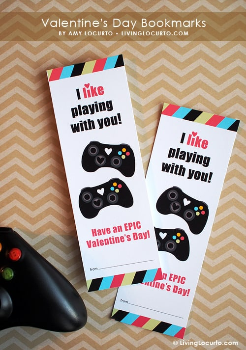 Free Printable xBox Video Game Valentine Bookmarks by Amy Locurto at LivingLocurto.com