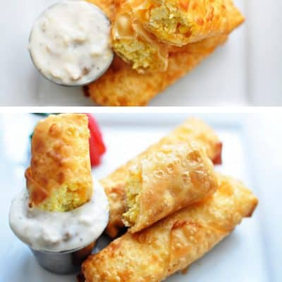 Scrambled Eggs & Cheese Breakfast Egg Rolls with Sausage Gravy
