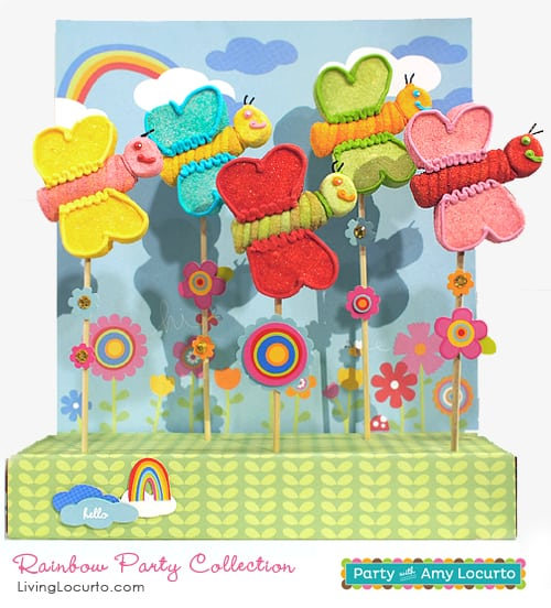Rainbow Party Butterfly Marshmallow Pops. By The Marshmallow Studio for Living Locurto