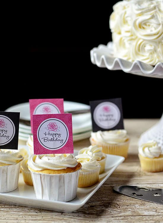 Rose Cake and Birthday Party Printables by Amy Locurto. LivingLocurto.com  Tidymom