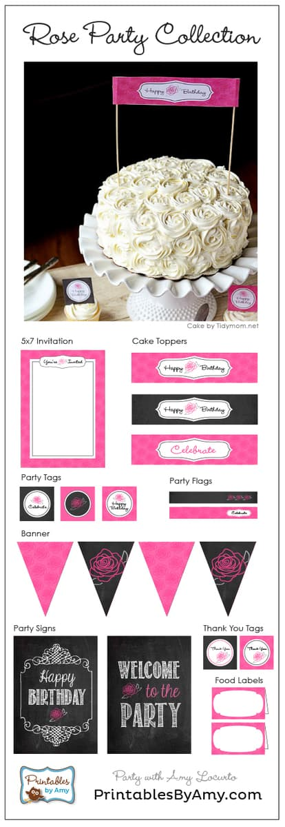 Rose Cake and Birthday Party Printables by Amy Locurto. Living Locurto