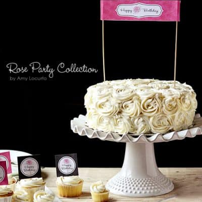 Rose Birthday Party Printables {Free Cake Toppers}