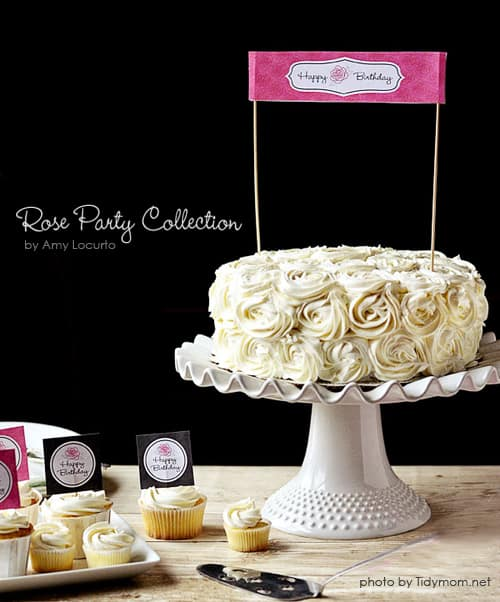 image regarding Happy Birthday Cake Topper Printable identified as Rose Birthday Bash Printables Free of charge Cake Toppers