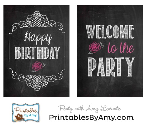 Chalkboard Rose Birthday Party Printable Signs by Amy Locurto. LivingLocurto.com