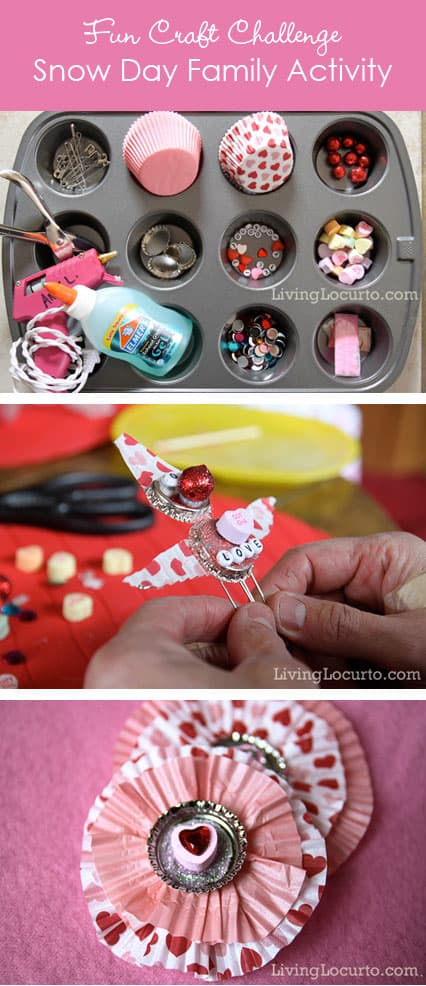 Family Craft Idea great for a snow day! Stuck inside and bored? This fun family Valentine's Day Craft Challenge is a great game to bust the boredom. Blizzard Weather fun! Living Locurto Valentines Day Craft Ideas. Livinglocurto.com