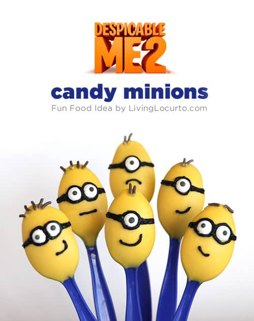 Minion candy spoons are such a fun and easy dessert idea! Great ideas for a Despicable Me themed birthday party!