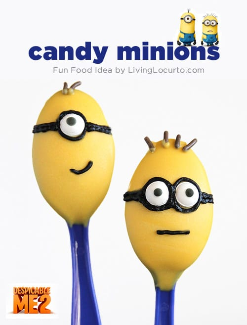 Minion candy spoons are such a fun and easy dessert idea! Ideas for a Despicable Me themed birthday party!