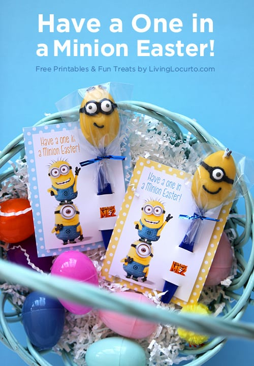 Despicable Me Minion Candy Spoons with Free Printable Easter tags! LivingLocurto.com