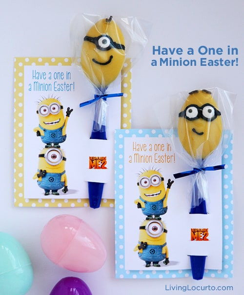 Despicable Me Minion Candy Spoons | Easter Fun Food Idea | Free Printables Living Locurto | Party Idea