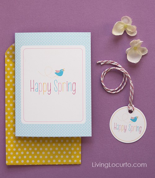 Happy Spring Free Printable Card & Gift Tags by Amy Locurto
