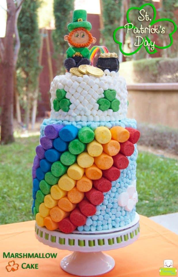 Marshmallow Rainbow Cake